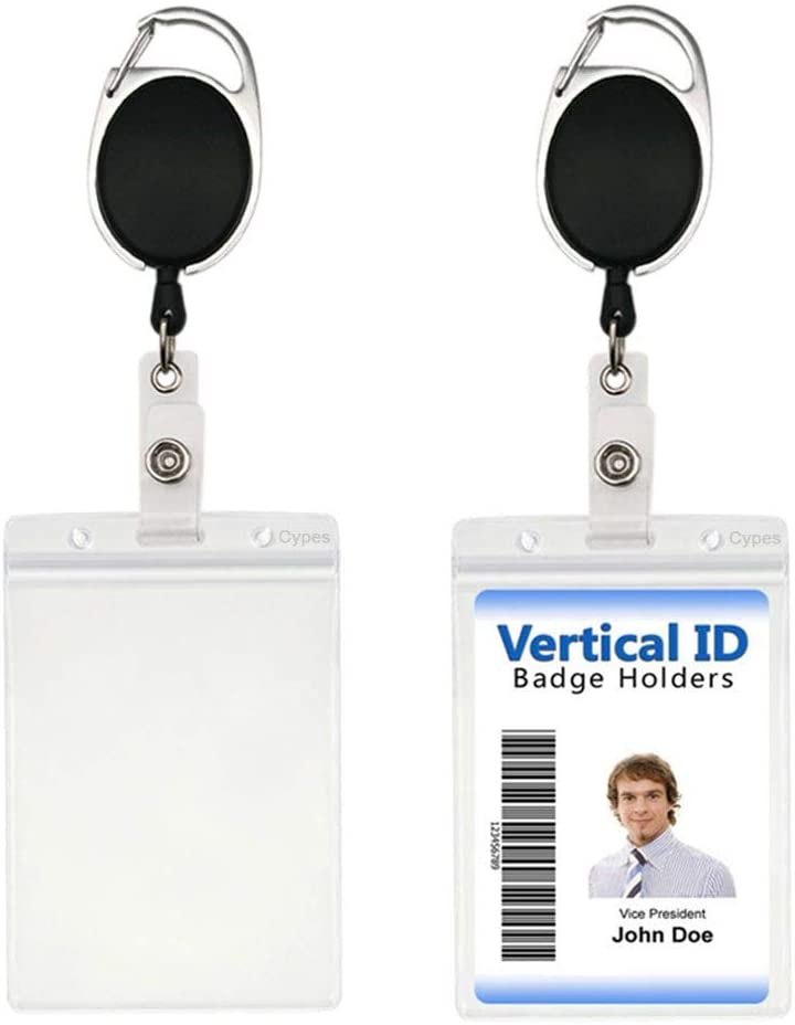 2 Packs Retractable Max 77% OFF Badge Holders with Reel Spasm price and Clip V Carabiner