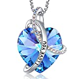 EleShow Gifts for Girlfriend I Love You Necklaces for Women, Blue Purple Swarovski Crystal