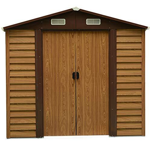 Outsunny Geräteschuppen Geräteschrank Schuppen Gerätehaus Gartenhaus 4 Fenster Holzmaserungsimitat L152 x B235,7 x H208,7 cm