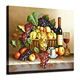 Vintage Wall Art Wine Pictures : Red Wine & Fruit Artwork Oil Painting on Canvas for Dining Room(24' W x 18' H, Multi-Sized)