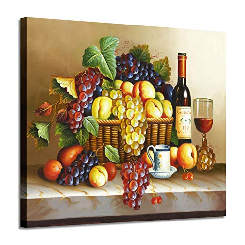 ARTISTIC PATH Vintage Wall Art Wine Pictures : Red Wine & Fruit Artwork Oil Painting on Canvas for Dining Room(24