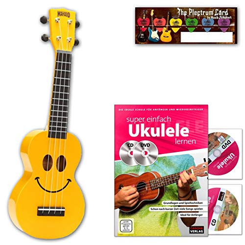 Mahalo - Ukelele soprano, diseño de cara sonriente, color amarillo, con ukelel, CD, DVD, tarjeta de música Schubert Plectrum, ideal como regalo