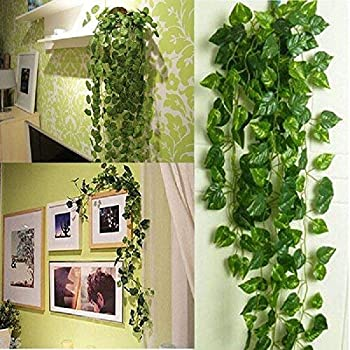 BS AMOR Artificial Plants   Wall Hanging   Speacial Ocassion Decoration   Home Decor Party   Office   Festival Decorative Pack of 3 Strings(Green)
