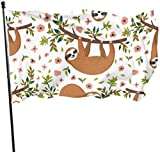 ShiHaiYunBai Flagge/Fahne, Funny Cartoon Printed Sloths Camper Yard Flags Decor Flags for Outside 3x5 Feet Vibrant Colors Quality Polyester and Brass Grommets
