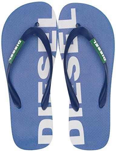 Diesel Men's SA-BRIIAN-Sandals Flip-Flop, Turkish sea/Jelly Bean/Star White, 7.5 M US