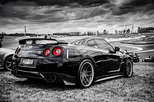 Tomorrow sunny C287 Nissan Black GTR side view Auto Poster Art Wall Pictures for Living Room Canvas fabric cloth Print