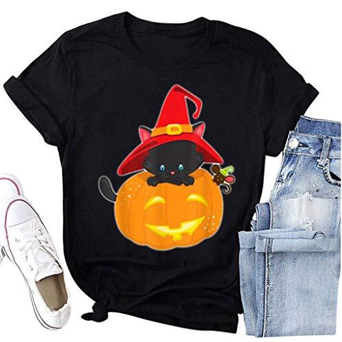 PPangUDing Halloween T-Shirt Damen Sommer Kurzarm Rundhals Lose Beiläufig Kürbis Skelett Skull Gedruckt Bluse Oberteile Tops Sweatshirt Pullover Tunika Hemd Sweater