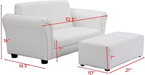 Children White Armchair with Ottoman Kids Recliner Armrest Chair Lounge Living Room Decoration