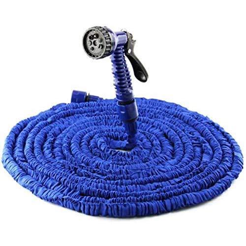 22.5M Expandable Garden Hose - Flexible Water Pipe with 7 Pattern Spray Gun - No Kink Lightweight Hose for Washing Car, Gardening - Large (Blue, 75Ft)
