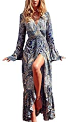 Material: 60% Cotton Blend This Floral Maxi Flowy Dress Features Long Flared sleeves, a V Neckline, Ruffle Hem and a Wrap Tie. Beautiful Printed Boho Dress Suitable For Beach Travel, Vacation, Club , Party etc. Please Refer to the Product Description...