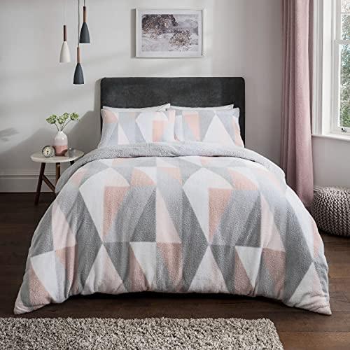 Sleepdown Just Contempo-Juego edredón y Fundas de Almohada (220 x 230 cm), diseño geométrico, Color Rosa, Poliéster, Blush Pink Geo, Matrimonio