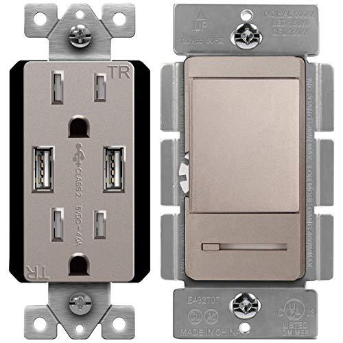 TOPGREENER High Speed USB Wall Outlet, 15A Tamper-Resistant Receptacles/Dimmer Switch with Light Adjustment Slider, Single Pole or 3 Way, 150W LED, 600W Incandescent/Halogen, 120V 60Hz, Nickel