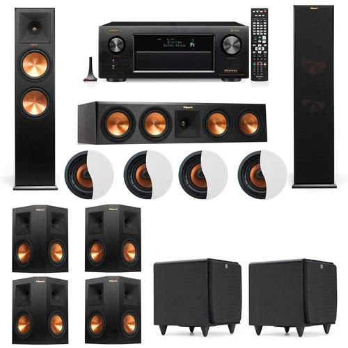 Best Bargain Dolby Atmos 7.2.4 Klipsch RP-280F Tower Speakers SDS12 with Denon AVR-X4300H