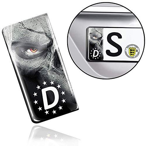 SkinoEu 2 x 3D Gel Silikon Nummernschild Kennzeichen JDM Aufkleber Stickers Tuning Auto Motorrad Skull Schädel EU QS 11