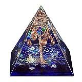 Amogeeli - Árbol de la vida de cristal pirámide EMF, protección para meditación, chakra reiki, decoración de casa, azul oscuro