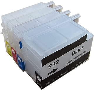 932 933 Empty Refillable Ink Cartridge - 932XL 933XL Ink Cartridges Without Chip Ink Cartridges Compatible with Officejet 7110 7612 6700 6100 6600 7610 (4 pcs)