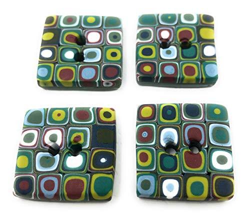 Efimoni 4 Stück, Knöpfe, 25mm, 2 Loch, grün, flach, quadratisch, mehrfarbig Art.Nr.: K00034