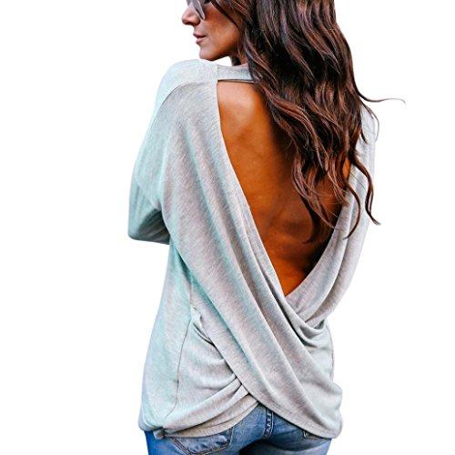 Sweatshirt Damen VENMO Frauen Elegant Rückenfreie Bluse Langarmshirts Pullover Sweater Pulli T-Shirt Oberteile Sexy Tops Crop Solid V-Ausschnitt Rückenfreie T-Shirt Bluse Solid Tops (Sexy Grau, S)