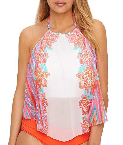 Coco Reef Women's High Neck Tankini Top Swimsuit with Mesh Detail, Fiesta Floral Multi, 38DD