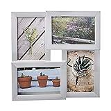 Amazon Basics - Marco de fotos de paneles para 4 fotografías, 10 x 15 cm, efecto níquel