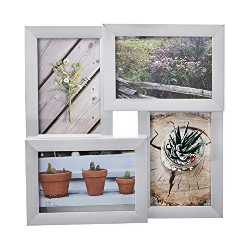 AmazonBasics Galerie-Bilderrahmen für 4 Fotos, 10 x 15 cm, Nickelfarben