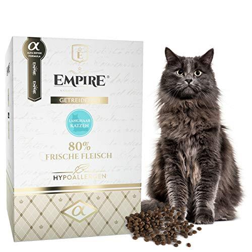 Empire Anti-Haarballen - Trocken Katzenfutter - 1,2kg - Premium Getreidefreies Trockenfutter für Langhaare Katzen - Hypoallergen - Glutenfrei - Viel frisches Fleisch - 100% Natürlich - GVOFrei