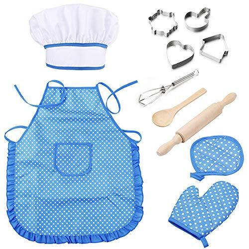 Iwinna Juego de disfraz de chef para hornear para nios de 3 a 8 aos, juego de rol con delantal, sombrero de chef, guante de cocina y utensilios, mejor regalo (azul)
