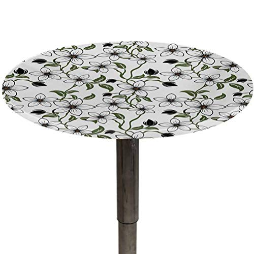 Table Cloth Round Floral Patio Table Cover Floral Arrangement with Leaves Petals and Buds Blossoming Nature Spring Art for Kitchen Dinning Party Green Black Orange Diameter 54'