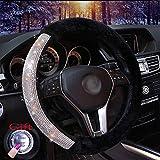 EGBANG Car Steering Wheel Cover, Fur Bling Bling Rhinestone Auto Wheel Cushion Protector Luxurious Universal for Girls Lady Women (Black)