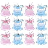 TOYANDONA 24 Piezas de Botellas de Leche Cajas de Dulces Oso Decoración de Encaje Boda Fiesta de Baby Shower Cajas de Dulces (Rosa 12 Piezas Azul 12 Piezas)