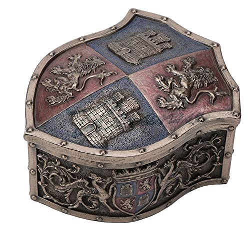 5' Lion Castle Crest Shaped Trinket Box Medieval Times Knights Home Decor