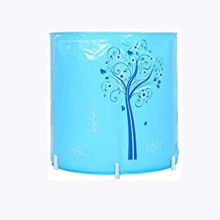 CCDDP Blue Bathtub - Foldable Bathtub, Household Thickened Round Tub Without Inflation
