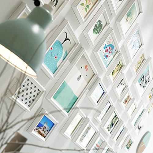 DONG Mur de Cadre Photo Mur Mur Photo Cadre en Bois Massif Cadre Photo Salon décoration Murale Simple Grande Taille Photo (Couleur : Blanc, Taille : 36 Frames)