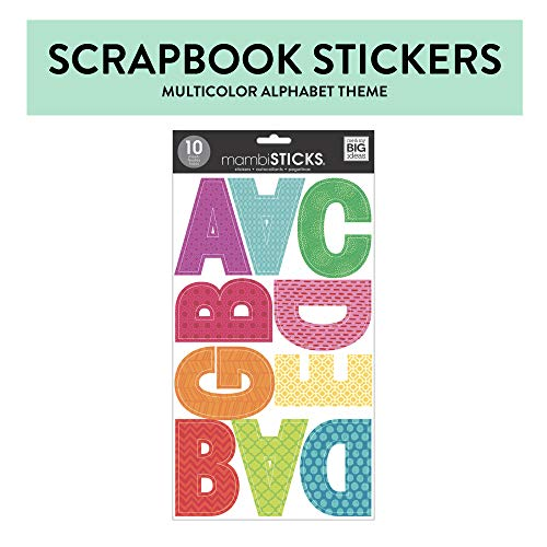 me & my BIG ideas mambiSTICKS Themed Stickers - The Happy Planner Scrapbooking Supplies - Letters & Numbers - Multi-Color Stickers - Perfect for Scrapbooking & Paper Crafts - 10 Sheets