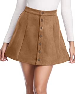 Women's Faux Suede Skirt Button Closure A-Line High Wasit Mini Short Skirt 2019