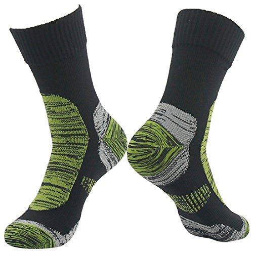 RANDY SUN 100 prozent wasserdichte Wandersocken, [SGS-zertifiziert] Unisex belüftet atmungsaktiv Ski Trekking Socke L 1 Paar schwarz-gras-grüne, wasserdichte Socken.