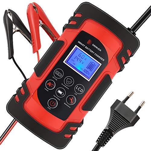 Directtyteam Cargador de batería Inteligente portátil 8A 12V / 4A 24V Pantalla LCD con múltiples Protectores Tipo de reparación para batería de automóvil Motocicleta (Red)
