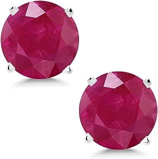 Gem Stone King 14K White Gold Red Ruby Stud Earrings 2.00 Ctw Round 6MM Gemstone Birthstone