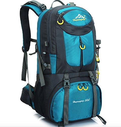 Cartable 50L Sac Professionnel d'alpinisme en Plein air pour la randonnée à Pied, Sac à Dos de Camping Bleu