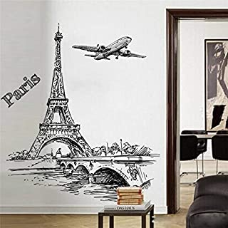 Best Choise Product Creative Sketch Tower Bridge Wall Decals Bedroom Home Decor 5070cm Scenery Wall Stickers PVC Mural Art DIY Posters