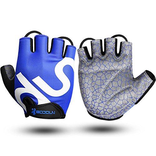 KONVINIT Guantes de Bicicleta Medio Dedo Negro SBR Acolchado Absorción de Impactos Adecuado para Todos Los Deportes Azul S by
