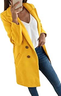 Macondoo Womens Casual Trench Coat Solid Outwear Notched Lapel Pea Coat