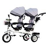 CHEERALL Niños 4 en 1 Trike Doble, Ligero, Triciclo de 3 Ruedas con Bicicleta...