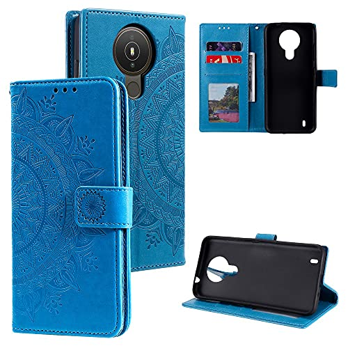 CoverKingz Handyhülle für Nokia 1.4 - Handytasche mit Kartenfach Nokia 1.4 Cover - Handy Hülle klappbar Motiv Mandala Blau