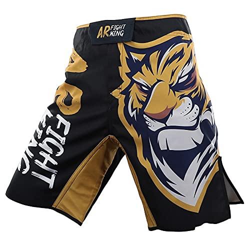 LGQ Muay Thai Fight Shorts, Herren Boxhose mit Tasche für MMA Kampfsporttraining,XL