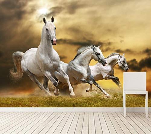 Wxlsl 3D Tapete Baum Pferde Laufen In Der Wiese Fototapete Tapete, Wohnzimmer Sofa Tv Wand Schlafzimmer 3D Tapete-350cmx256cm
