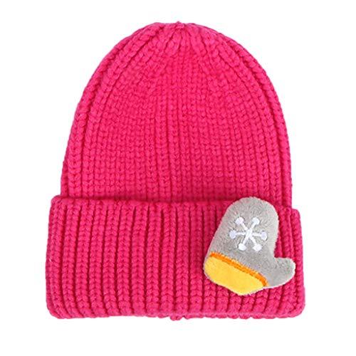 Fenverk Baby Kleinkind Neugeborenen Hand gestrickt häkeln Strickmütze Hut Kostüm Baby Fotografie Requisiten Props,Unisex Baby, Pompon, Bindeband, Einfarbig Mütze(A Hot Pink)