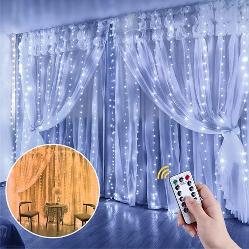 Anpro LED USB Lichtervorhang 3m x 3m,300 LEDs USB Lichterkettenvorhang mit 10 Lichtmodelle für Partydekoration deko schlafzimmer, Innenbeleuchtung, Warmweiß und Kaltweiß Zweifarbig Lichterketten