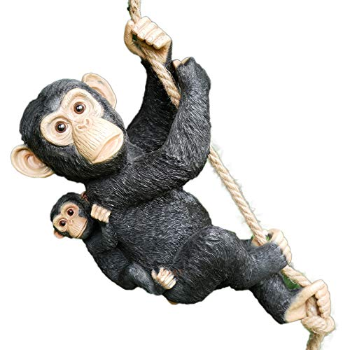 Darthome Ltd Hanging Monkey & Baby On Rope Garden Tree Ornament Statue Sculpture Decoration
