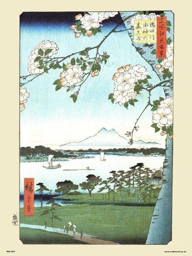 onthewall Hiroshige japonés Póster El Grove en la Suijin Santuario y massak.